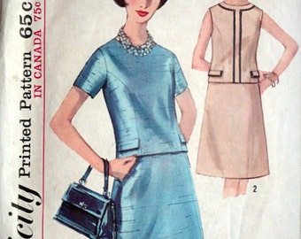 Vintage 60's Simplicity 5348 Sewing Pattern, Misses' Two-Piece Dress, Size 14, 34 Bust, Mad Men