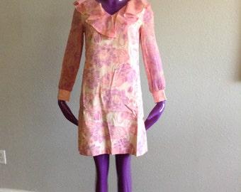 Vintage 60s Dress Shift Dress S M 60s Shift Dress Hippie Dress Hippy Dress Day Dress Summer Dress Floral Dress Pink Dress