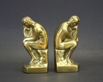 Vintage Brass 'The Thinker' Statue Bookends (E9064)
