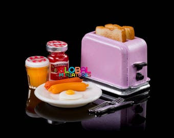 Dollhouse Miniatures Pastel Purple Electric Toaster Bread with Dish of Sausage and Egg and Fruit Jam Breakfast Supply - 1:12 Scale