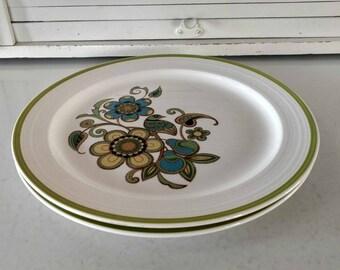 Vintage Dinner Plates Noritake Craftone Morning Song Mid Century Modern Large Floral Bird Design Retro Dinnerware Blue Green Yellow
