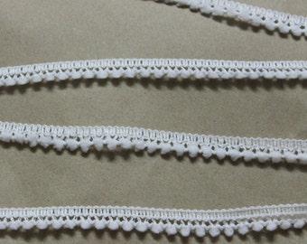 White mini pom pom trim - White trim - White sewing notion - White Pom Pom Trim
