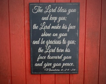 "The Lord Bless You Wood Sign Christian Wall Art Scripture Verse Wooden Sign Bible Verse Word Art 24""x36"" Christmas gift"