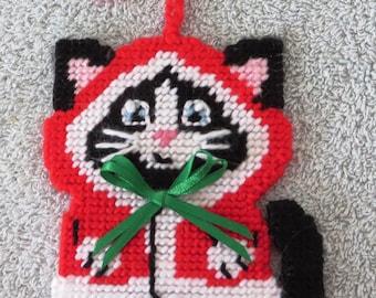 Handmade Santa kitty needlepoint ornament.