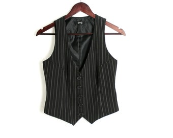 Vintage 90's Formal Black Striped Fitted Vest Waistcoat Small