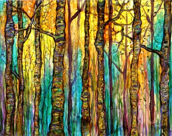 Blue Forest: Fine Art Print from mixed media painting