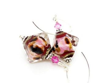 Pink Earrings, Lampwork Earrings, Glass Earrings, Glass Bead Earrings, Crystal Shaped Earrings, Glass Beads Jewelry, Dangle Earrings