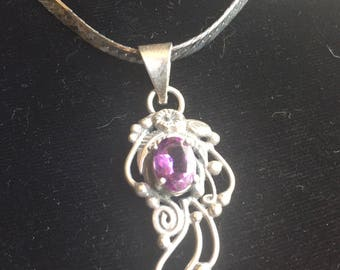 Vintage fantasy jewelry etsy sterling silver and amethyst fantasy pendant aloadofball Image collections