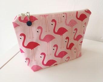 Zip pouch project bag (medium) flamingos