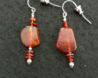 Vintage Genuine Baltic Amber Slices and Chips Drop Earrings
