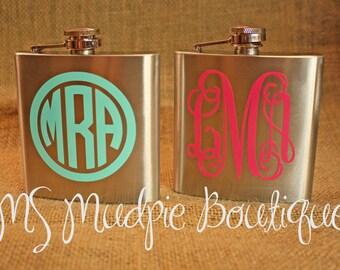 Monogrammed Flask, Personalized Flask, Sorority Gift, Wedding Gift, Stainless Steel Flask