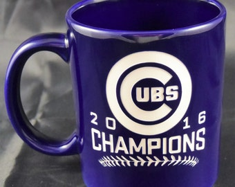 Chicago Cubs World Series Champions / Chicago Cubs / World Series 2016 - Etched Coffee  Mug - Blue