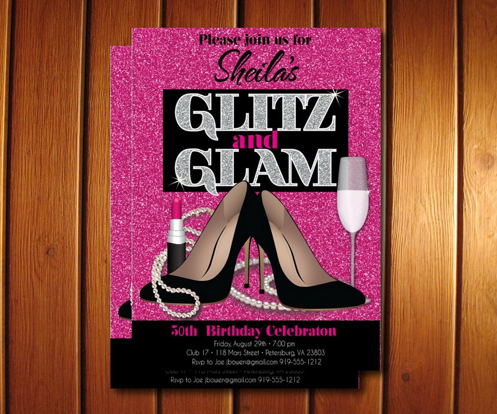 Glitz and Glam Adult Birthday Party Invitation Glamorous and