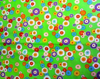 """Alexander Henry Fabric Candy Flower Bright Green with Metallic print 33"""" Last Piece OOP"""