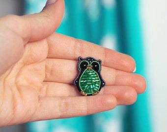 Woodland animal totem jewelry, Miniature Owl Brooch, Cute forest bird pin, Ethnic fiber soutache embroidery, Handmade Beaded graduation gift