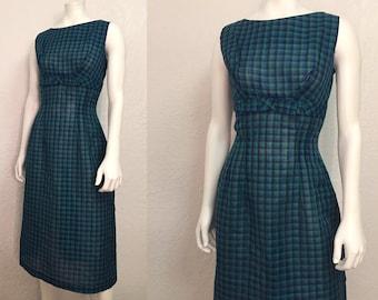 Vintage 1950's Cotton Plaid Structured Dress Small S