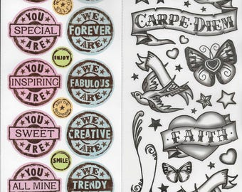 Scrapbooking Stickers Set of 2 Double Sided Miss Elizabeth's Tattoos and Text Circle Stamps Acid Lignin Free Card Making Paper Crafts