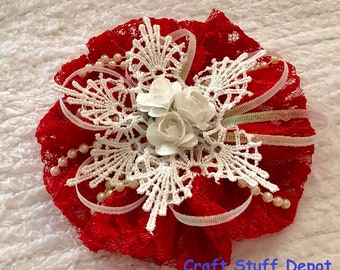 Handmade Flower, Shabby Chic, Lace Rosette, Mixed Media Embellishment, Package Topper, Head Band, Brooch, Hat Trim, Journal, Red