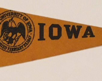Circa 1940's University of Iowa Mini Pennant - Antique College Memorabilia