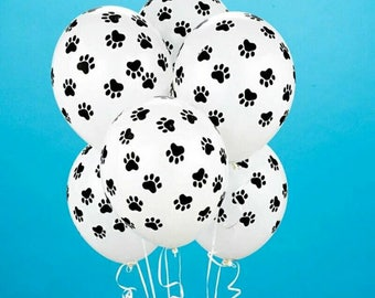 20 Pcs Paws Print Dog Party Balloons Latex Balloons Birthday Party Balloon Patrolling Toys Decoration Party Supplies Kids Gif