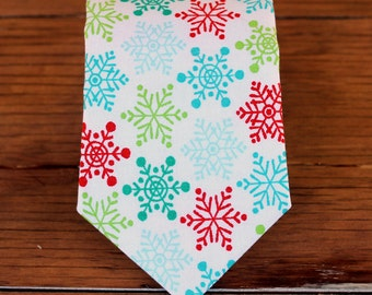Boys Christmas Necktie - blue, green red Snowflakes on White Woven Cotton, neck tie for baby, toddler, child, teen, little boy tie, gift tie
