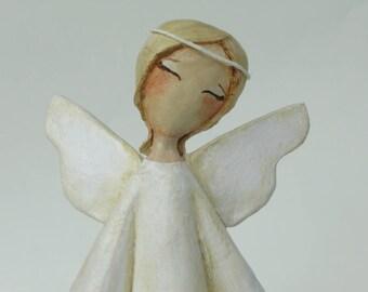 Paper mache angel, Primtive Folk Art Angel, Angel sculpture, Angel statue, Paper mache art, Angel ornament, Guardian angel