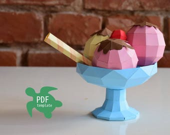 Papercraft ice-cream PDF template