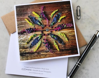 Ink Berry Mandala Note Card with 5x5 square envelope, blank inside