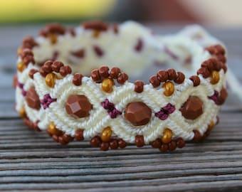 REDUCED Micro-Macrame Beaded Bracelet - Cream, Wine, Brown