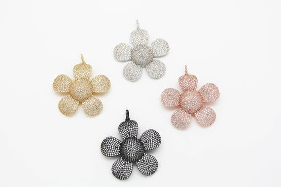 CZ Micro Pave 50mm Flower Pendant With CZ Bail