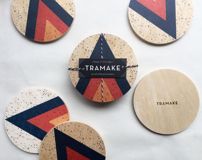 ARROW set of 4 wood coasters
