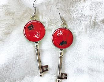 Red/Black/White Key Earrings
