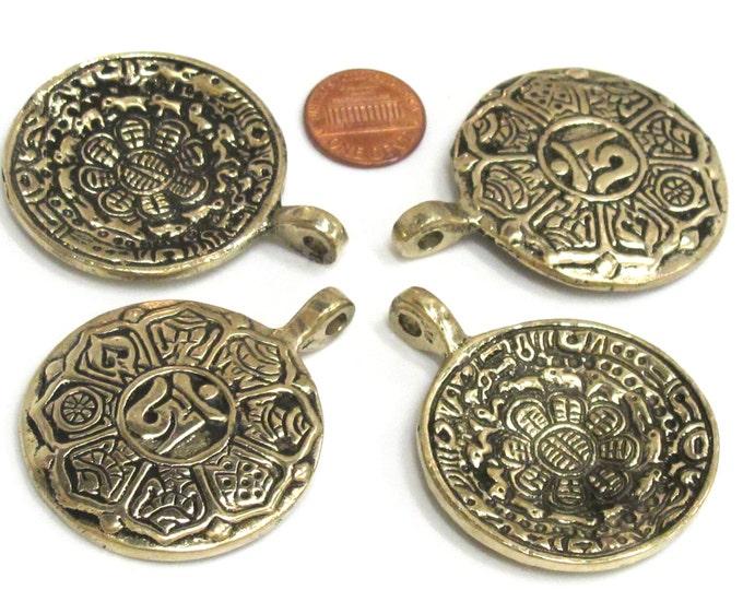 4 Pendants  - wholesale Tibetan calendar solid Brass pendant reverse side auspicious symbols good quality - CP091s