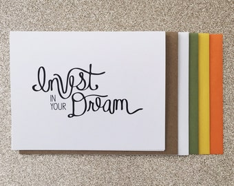 Invest in Your Dream A2 Greeting Card, Typography Print, Motivation, Inspiring Cards, Pep Talk, Monochrome Art