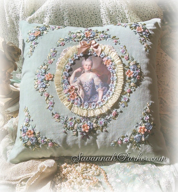 Antique Style Romantic Mint-Aqua Marie Antoinette Exquisite French Rococo Pillow - Ribbonwork Embroidery - Antique Lace - Ribbon Flowers