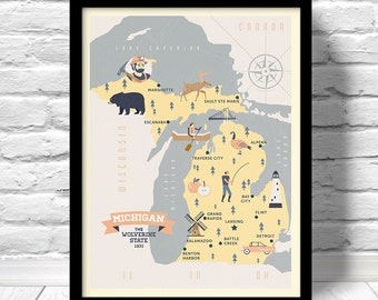 Michigan Map, The Wolverine state map, original map, nursery map, Home State Map, Michigan state poster, modern family map,state family map