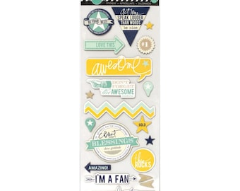 SALE! Awesome - Heidi Swapp Mixed Media Chipboard Stickers  (01105)