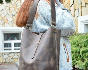 Brown leather shoulder bag,Brown purse leather,Brown bag leather,Handmade shoulder bag,Genuine leather bag,Brown leather purse,Gift for her