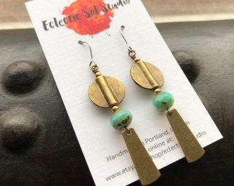 Turquoise Czech Glass & Brass Earrings