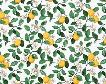 Tablecloth white yellow lemons green leaves Botanical Scandinavian Design , runner , napkins , curtains , pillows , great GIFT