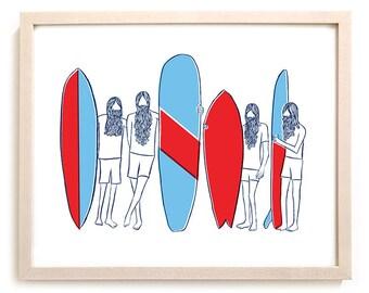 """Surfing Art Print """"Locals"""""""