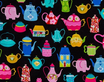 Novelty Tea Pots on Black Fabric - 100% Cotton Calico, Apparel Fabric, Craft Fabric, Sewing Fabric