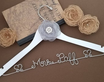 FAST SHIPPING!!! Personalized Dress Hanger || Bridal Hanger || Bridal Shower Gift || Bridal Party || White Coat ||