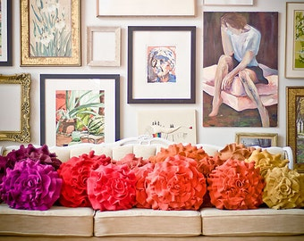 Custom color ruffle rose pillow MEDIUM - as seen on Apartment Therapy