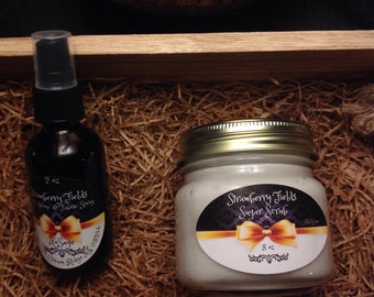 Strawberry Fields Sugar Scrub and Body & Linen Spray Combo