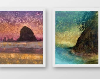 SET of TWO Oregon Coast prints, limited edition, fine art prints, Cannon Beach, Haystack Rock
