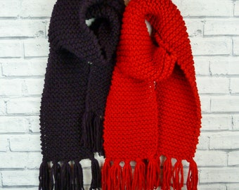 READY TO SHIP Chunky Knit Scarf - Aubergine and Red, vegan friendly