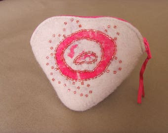 Coin heart wool felted Merino