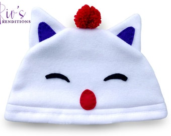 Final Fantasy - Moogle Hat / Fleece Hat / Winter Hat / Final Fantasy Hat / Moogle Hat / Video Game Characters