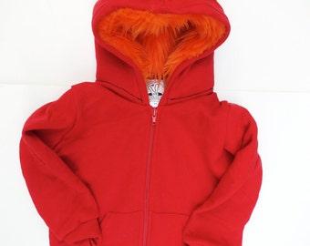 Toddler Monster Hoodie - Size 2T - Red with Orange - horned sweatshirt, custom jacket